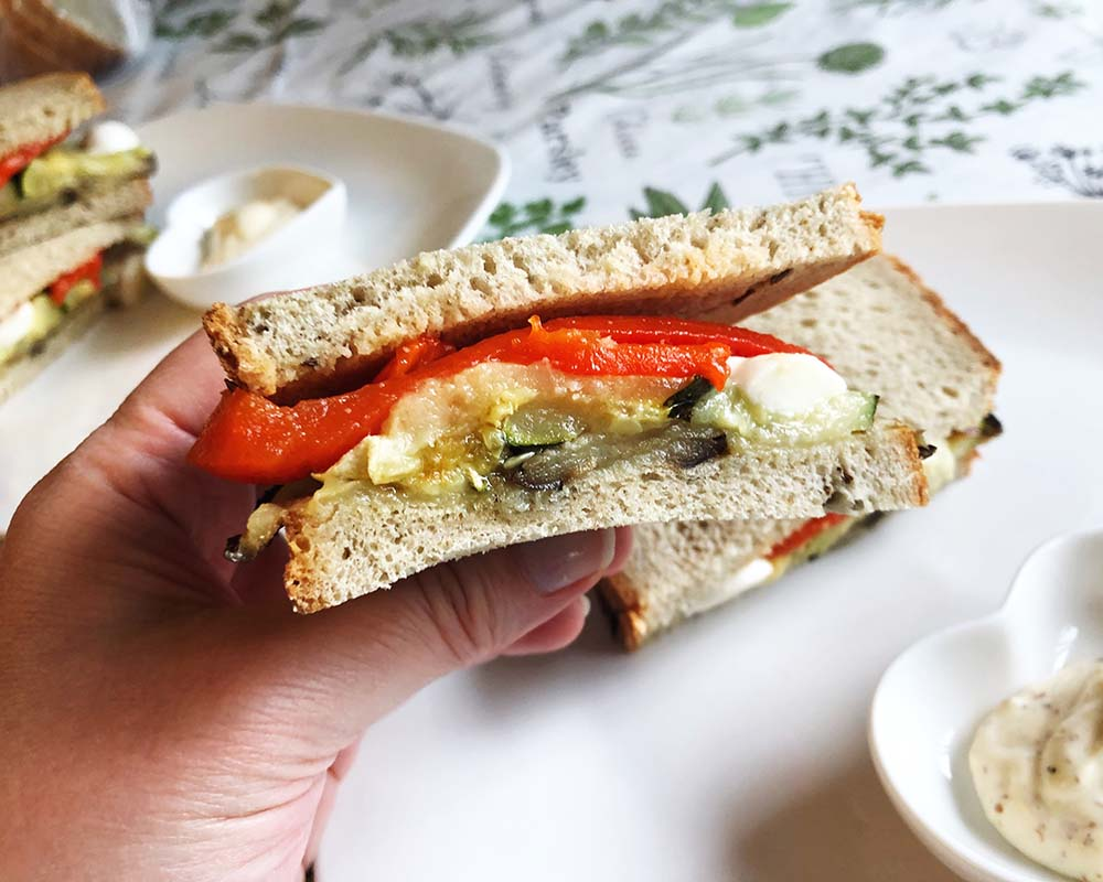 close-up of roasted vegetable sandwich