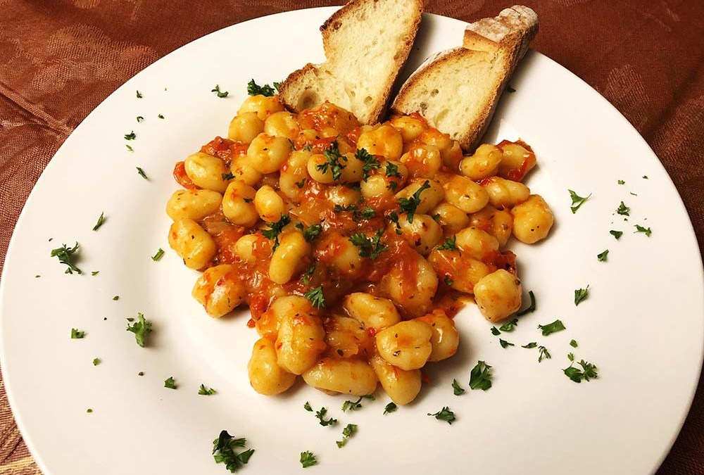 Gnocchi with roasted red pepper sauce