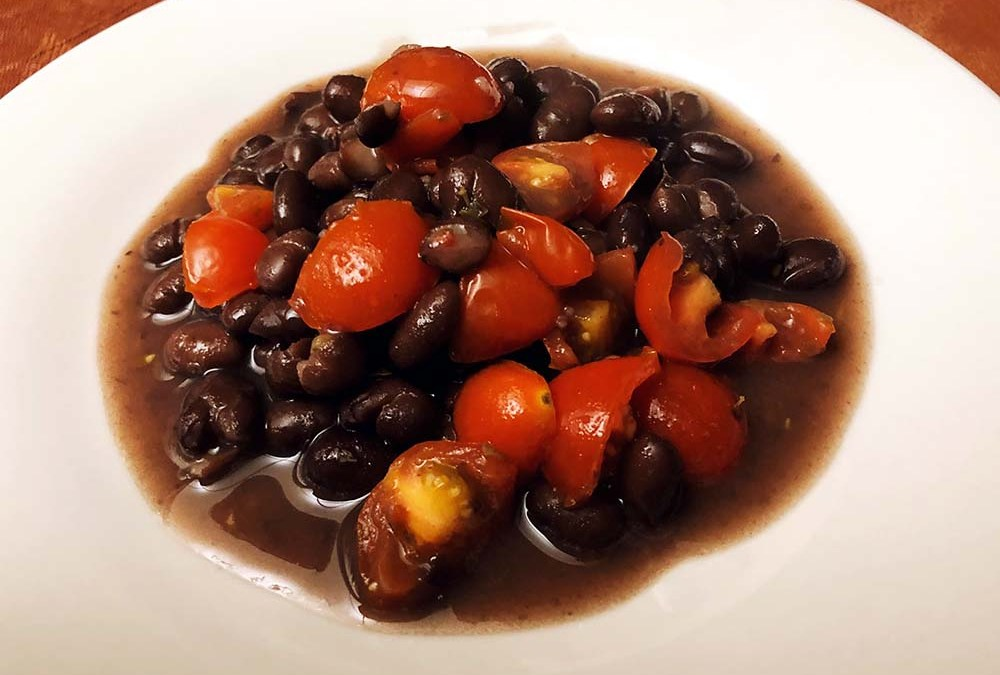 black beans with cherry tomatoes