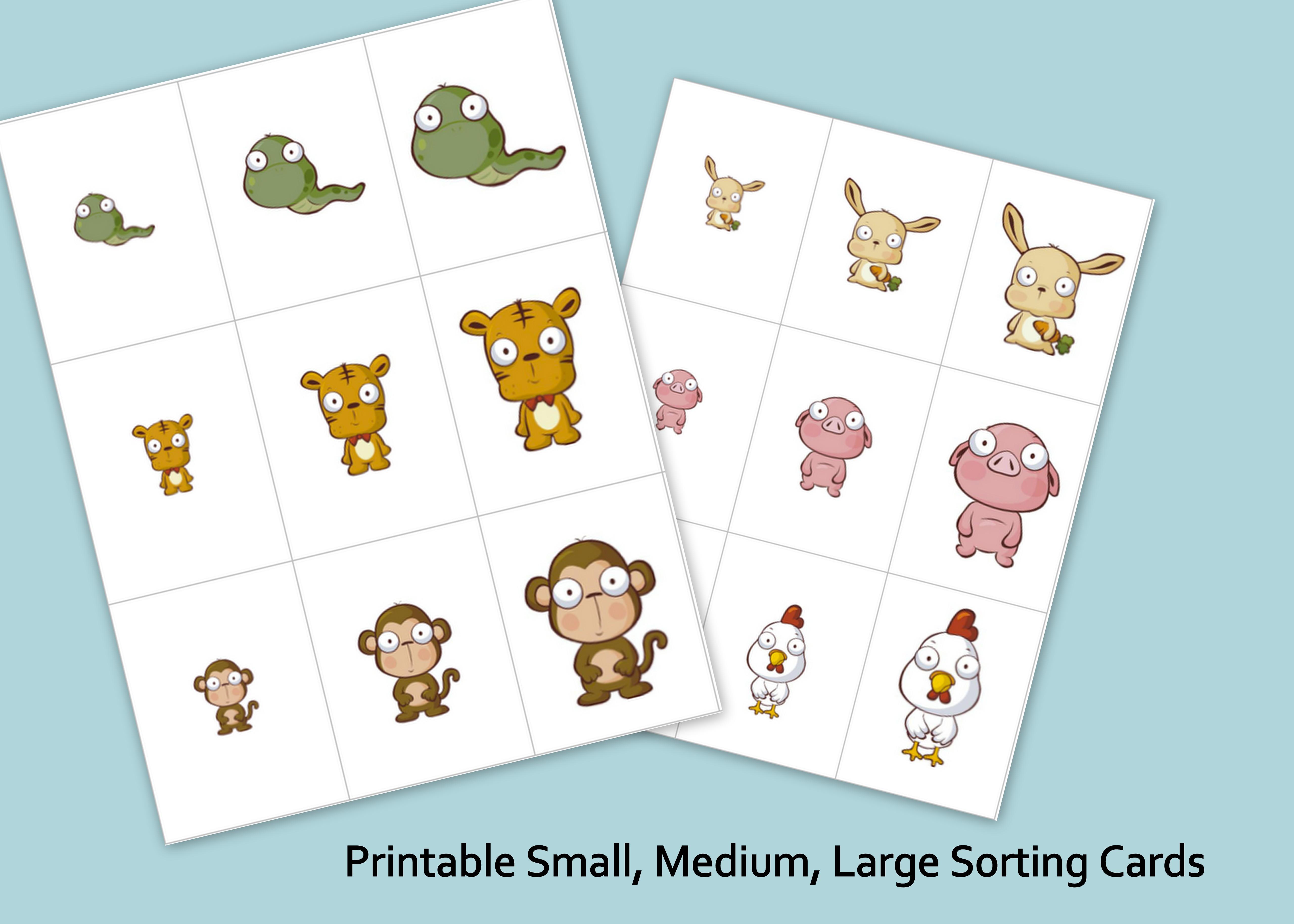 Printable Small Medium Large Animals