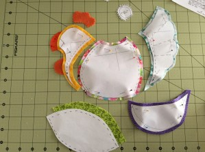 Cut out pieces with seam allowances