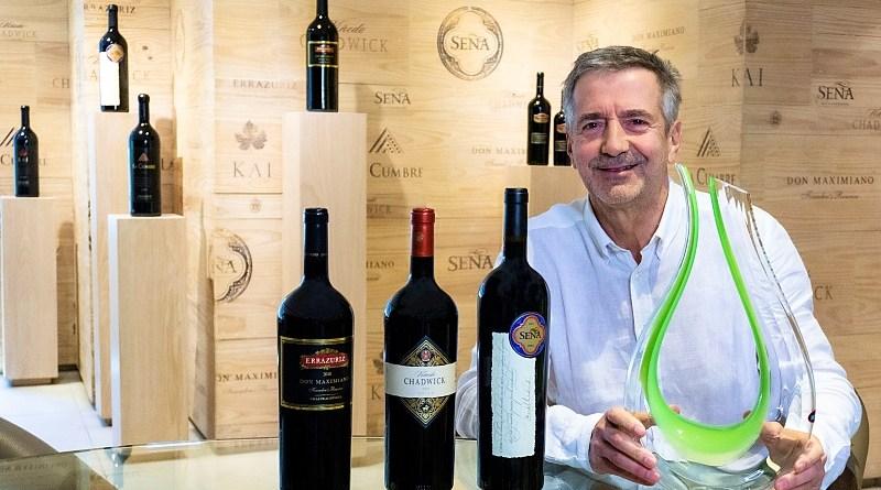 Eduardo Chadwick con el Decantador de Riedel y sus vinos iconos.