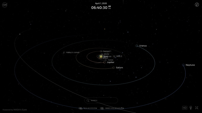 NASA's interactive real-time map of our solar system