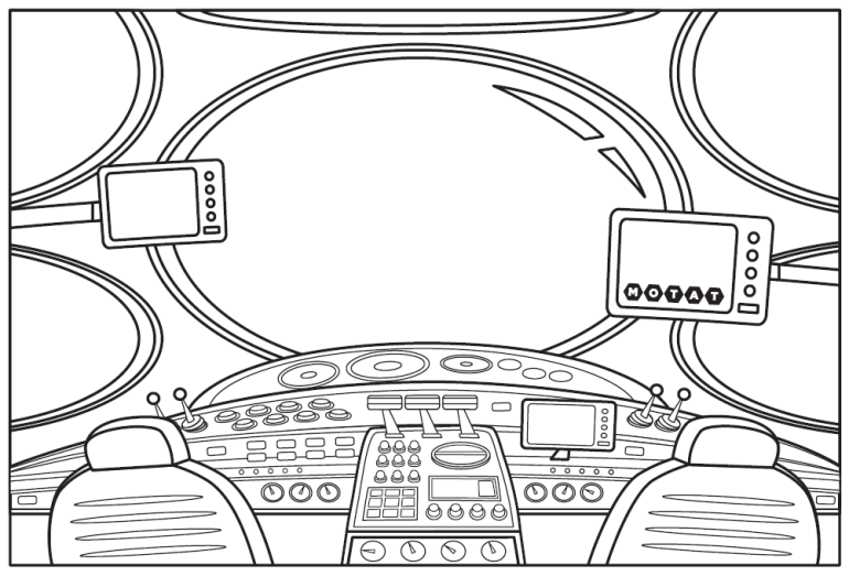 colour in spaceship cockpit illustration