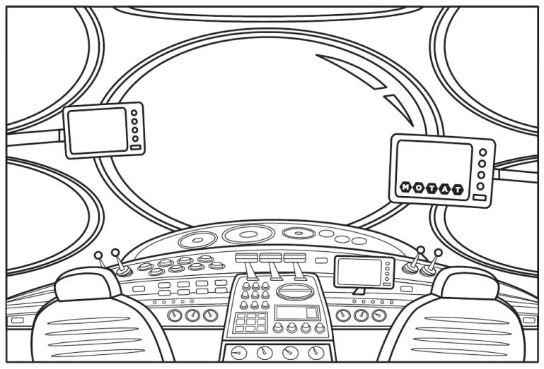 colour in spaceship cockpit illustration