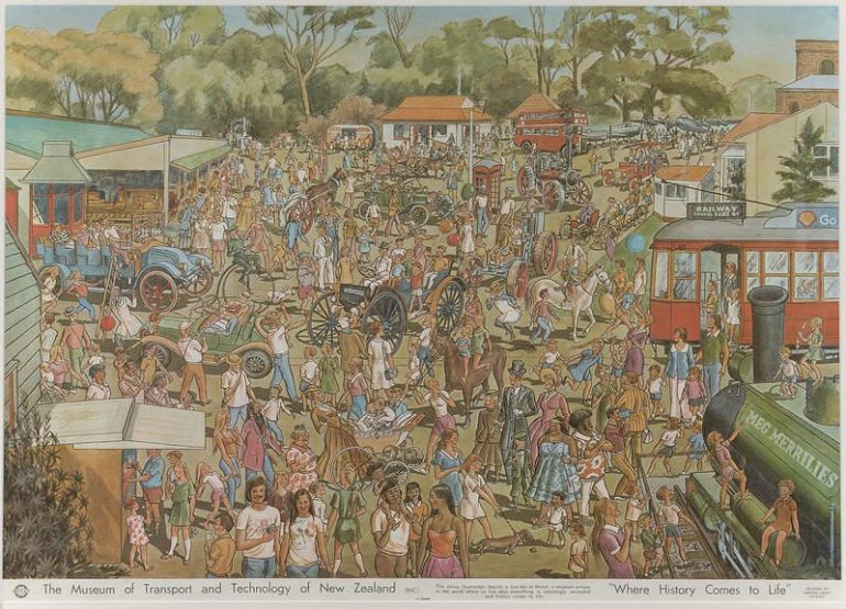 Illustration of MOTAT Live Day with crowds of people, horses, trains and trams.
