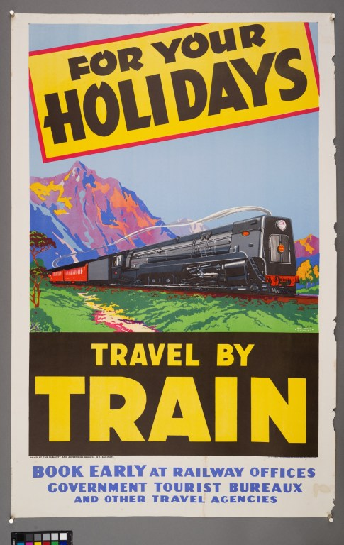 Poster advertising a classic holiday train trip in New Zealand in 1948.