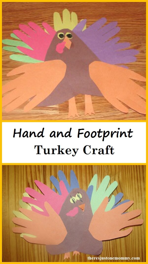 Week 98 Sunday's Best Featured Post Hand and Foot Print Turkey Crafts from There's Just One Mommy