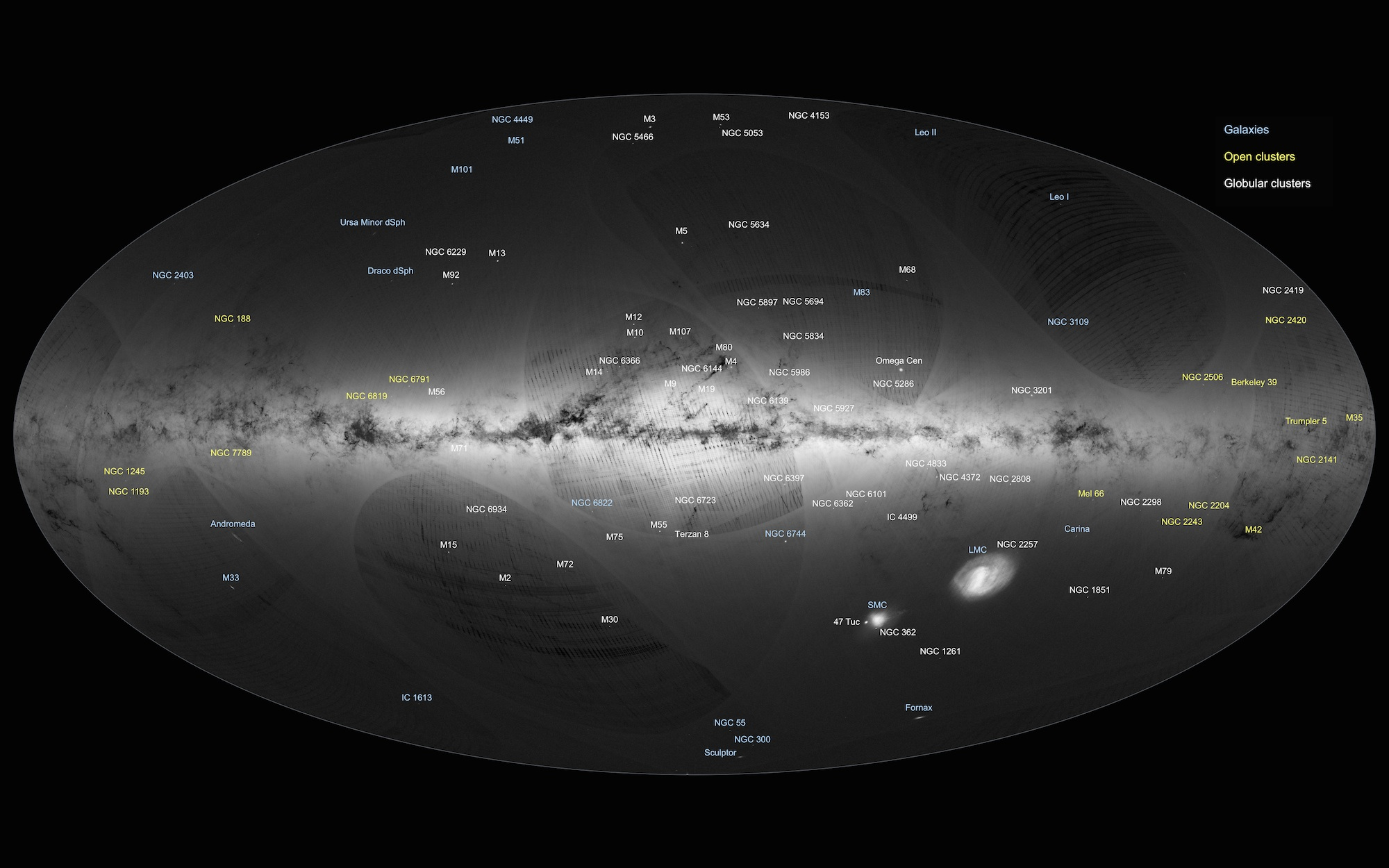 An annotated version of Gaia's sky map. Image: ESA/Gaia/DPAC