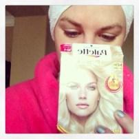 Coloring my hair last weekend