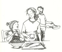 Clementine w/family making dinner line drawing