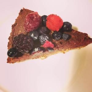 Chocolate Avocado Cake with Mixed Berries