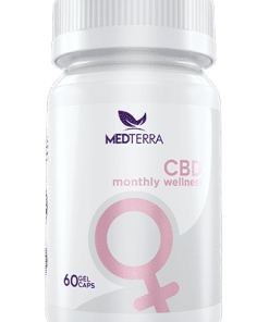 Medterra Women's Monthly Wellness. 25mg CBD per 2 capsules. Helps relieve cramps and bloating. Medterra CBD near me. CBD near me.
