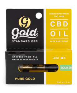 Gold Standard CBD Vape Cartridge - 450mg strength. Sour Diesel. Gold Standard CBD near me. CBD near me