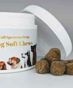 Huron Hemp Full Spectrum Dog Soft Chews. Each chew vegetable chew has 2.5mg of CBD. Designed to help relieve stress, anxiety, and inflammation in pets