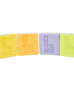 CBD Living Soap. Four scents, Eucalyptus, Coconut Lime, Bergamont, and Lavender. Uses 100% natural ingredients and Nano-CBD. 60mg of CBD per bar