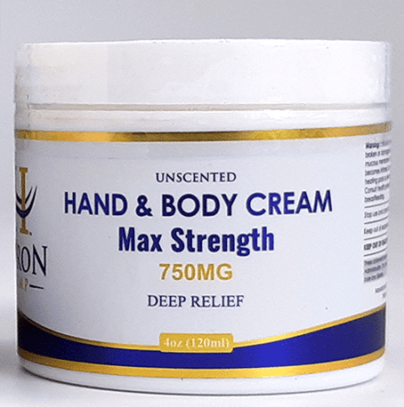 Huron Hemp Hand & Body Cream 750mg Maximum Strength. Unscented. Moisturizing, pain relief, and hydration