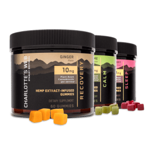 Charlotte's Web CBD Gummies made with 10mg of CBD per serving. Benefits Recovery, Sleep, and Calming. Three flavors, Ginger, Lemon Lime, and Raspberry. Charlotte's Web CBD Gummies
