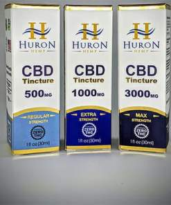 Huron Hemp CBD Tinctures. Zero THC. USDA Organic. 500mg, 1000mg, 3000mg. Relief from pain, inflammation, stress, and anxiety.