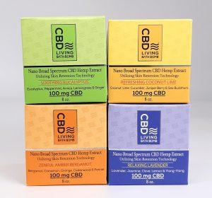 CBD Living Bath Bomb. Four scents, Eucalyptus, Coconut Lime, Bergamont, and Lavender. Uses 100% natural ingredients and Nano-CBD. 100mg of CBD per bomb