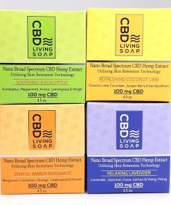 CBD Living Soap. Four scents, Eucalyptus, Coconut Lime, Bergamont, and Lavender. Uses 100% natural ingredients and Nano-CBD. 100mg of CBD per bar
