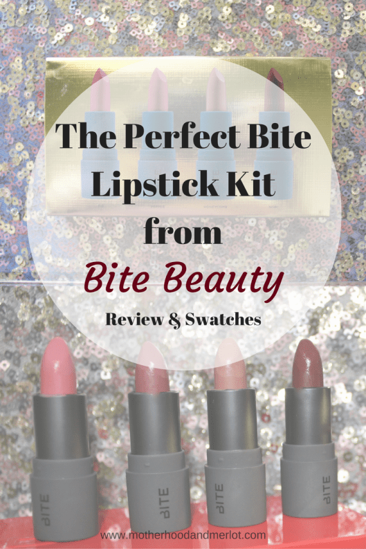 Bite Beauty The Perfect Bite Review. Full swatches and run down of this four lipstick kit from bite beauty.