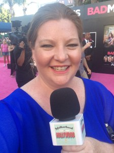 Heather Brooker reporting on the pink carpet for the premiere of Bad Moms