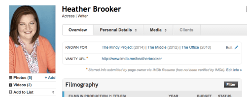 heather known for imdb