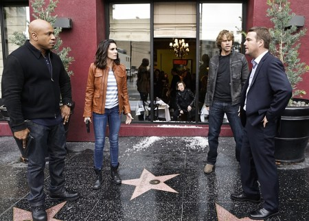 """Exchange Rate"" -- Pictured: LL COOL J (Special Agent Sam Hanna), Daniela Ruah (Special Agent Kensi Blye), Eric Christian Olsen (LAPD Liaison Marty Deeks) and Chris O'Donnell (Special Agent G. Callen). When a convicted Cuban spy escapes U.S. custody just before he is set to return to his country in a prisoner exchange, the team is shocked to learn that Anna (Bar Paly) helped him break out. Also, Deeks admits to Kensi that he thinks she is too messy, on NCIS: LOS ANGELES, Monday, March 14 (9:59-11:00 PM, ET/PT), on the CBS Television Network. Photo: Sonja Flemming/CBS ©2016 CBS Broadcasting, Inc. All Rights Reserved."