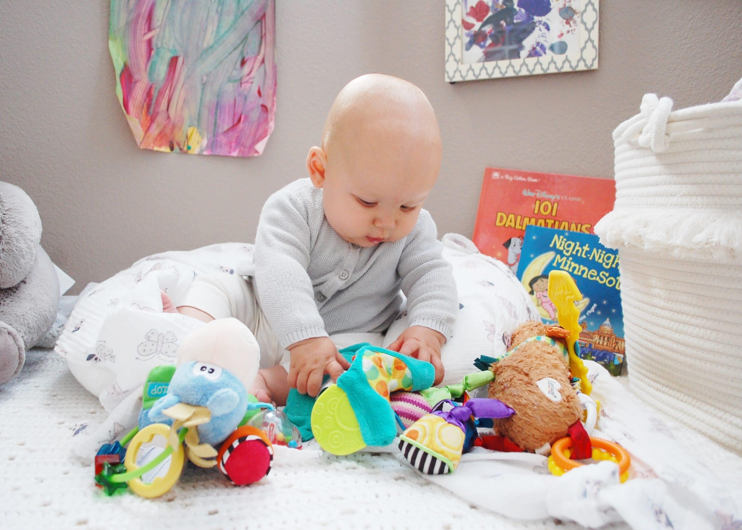 Lily playing with toys
