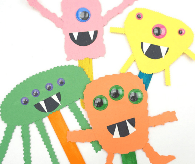 Construction Paper Monster Puppets - Halloween Crafts for Toddlers