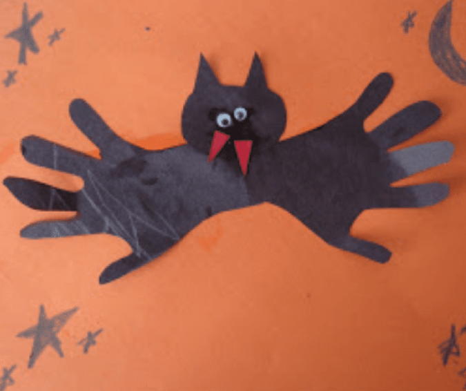 Easy Handprint Bat Craft - Halloween Crafts for Toddlers