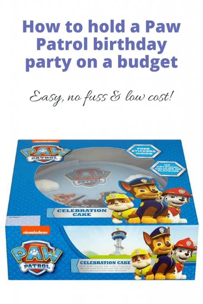 Paw Patrol birthday party on a budget