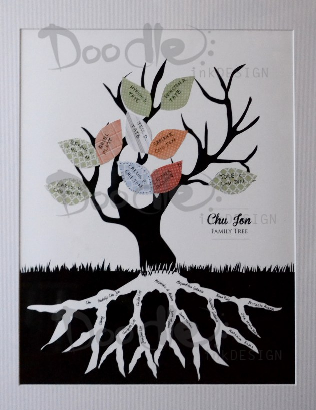 family tree made with cutout paper leaves