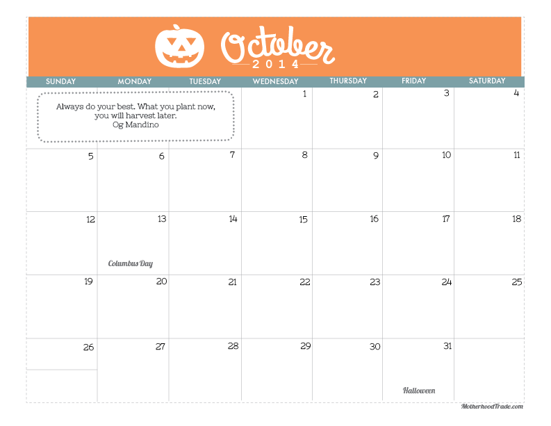 Calendars tricks of the motherhood trade calendarsoctober 2014 solutioingenieria Choice Image