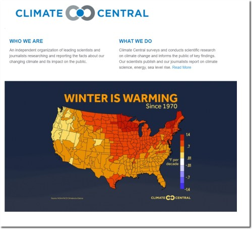 climate central winter warming map