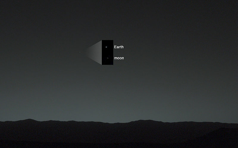 Earth and moon, looking like stars, seen from Mars.