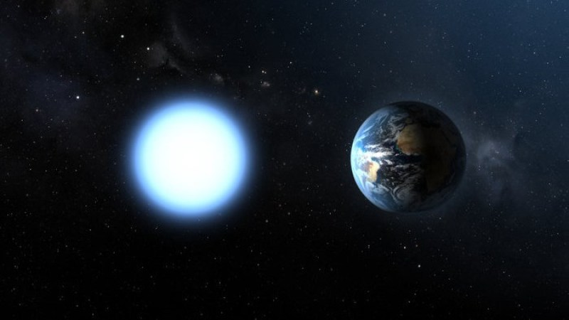 Bright white circle representing Sirius B next to Earth, both almost same size.