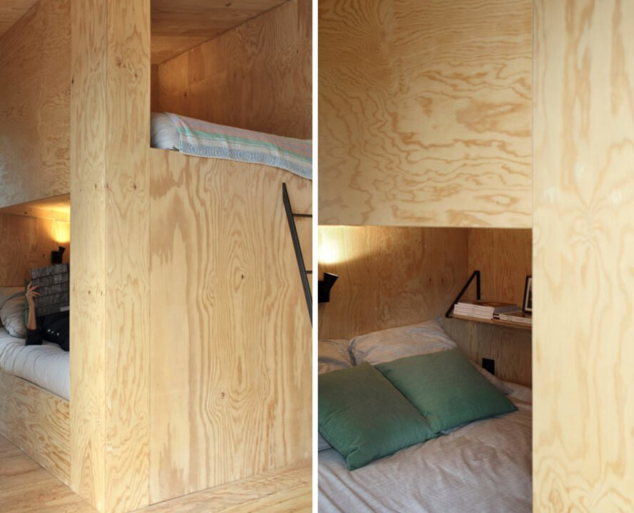 interior of cabin with sleeping nooks