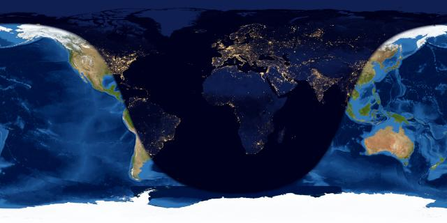 Worldwide map showing night over most of North America to east Asia.