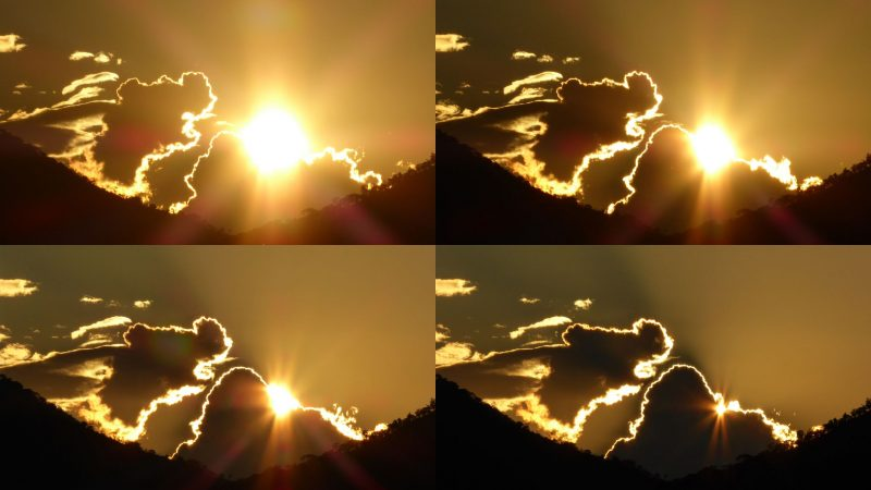 Composite of 4 images showing clouds that look like a dog, eating the sun.