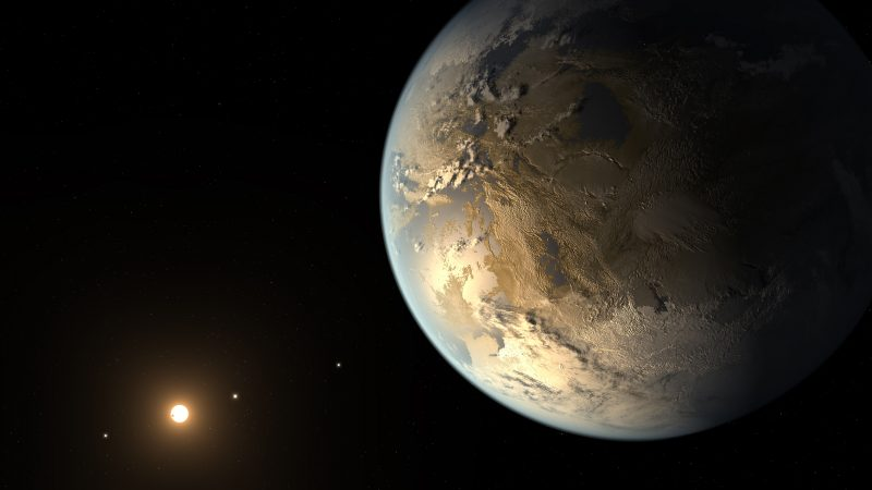 Earth-like planet with its star and three distant planets.
