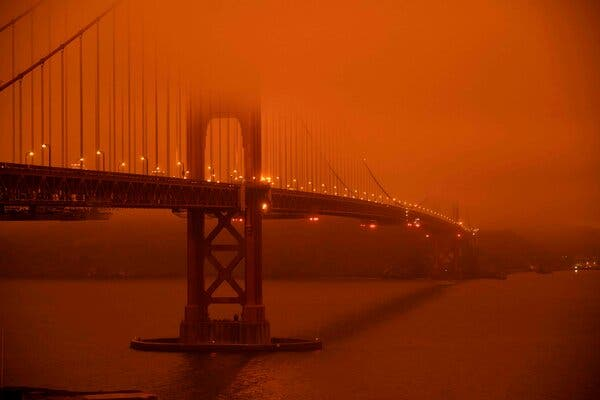 Smoke from wildfires obscured the Golden Gate Bridge at midday in early September.