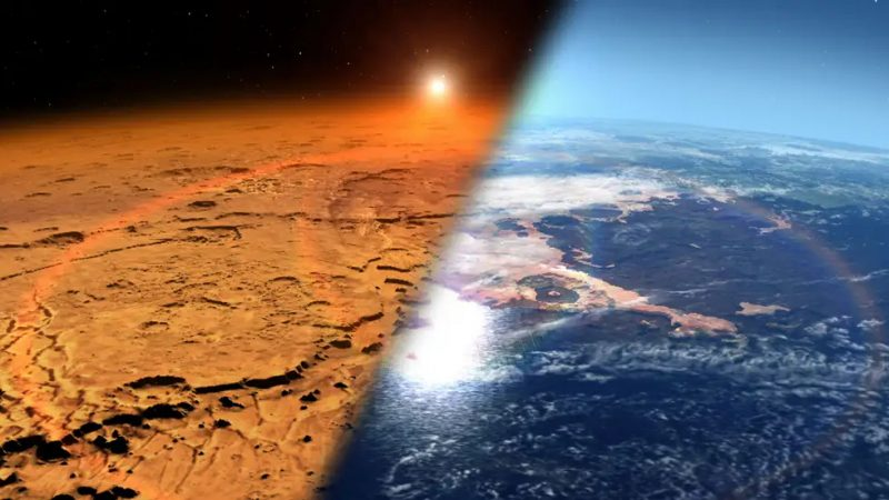 Divided image with red, barren planet on left and planet with ocean on right.