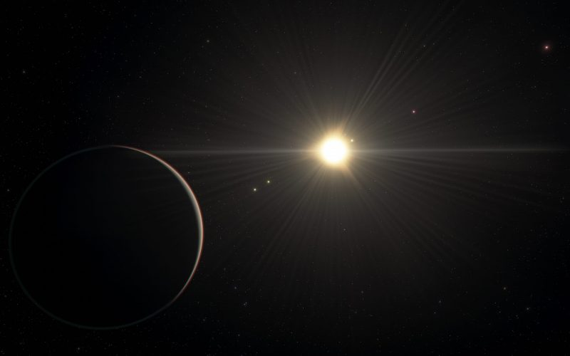 Crescent planet seen from space with smaller planets closer to a distant star.