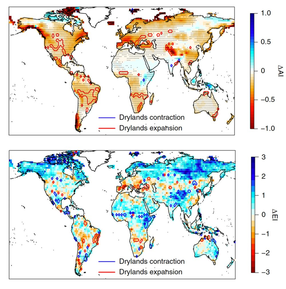 Change in dryland area between the 1970-2000 and 2070-2100 periods under RCP8.5, for the AI index and EI index