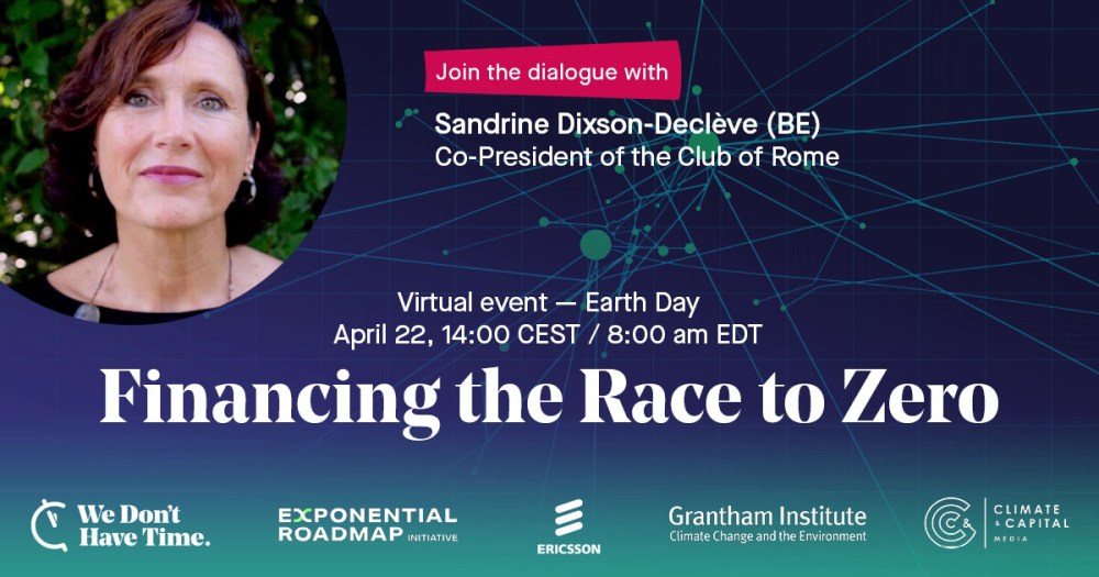 Find out who'll be speaking at Financing the Race to Zero on April 22