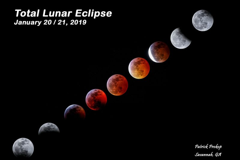 Nine photos of the lunar eclipse in a single image, showing stages of the eclipse.