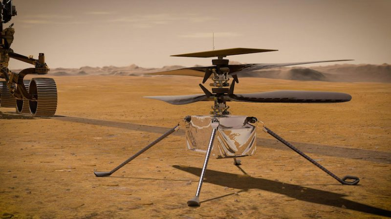 The small helicopter is illustrated resting on the brown, flat surface of Mars. Perseverance is partially visible to the left.