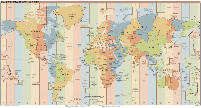 Map of the world with 24 colored vertical stripes.